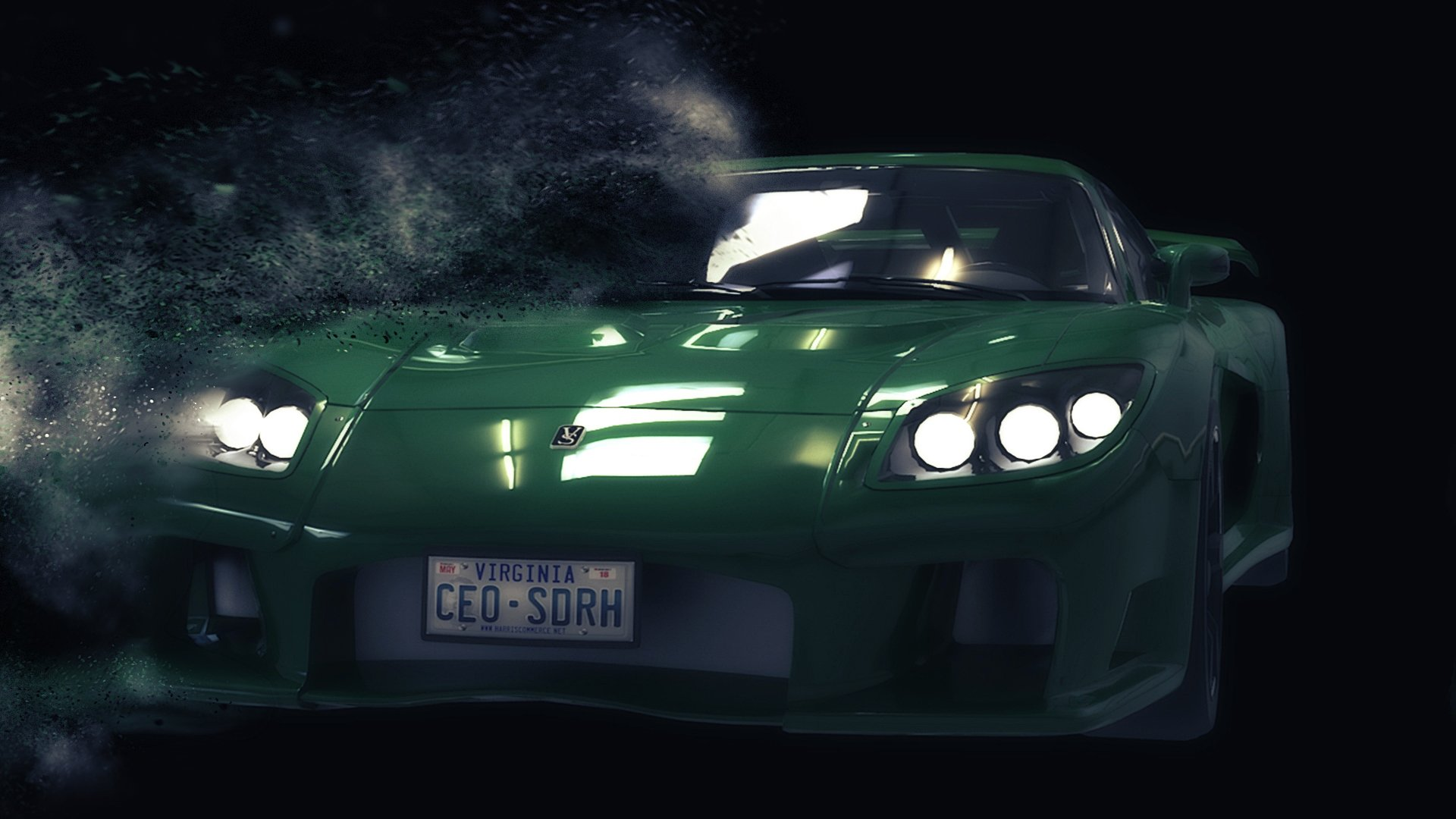 green 3D still-animated car with particle effect
