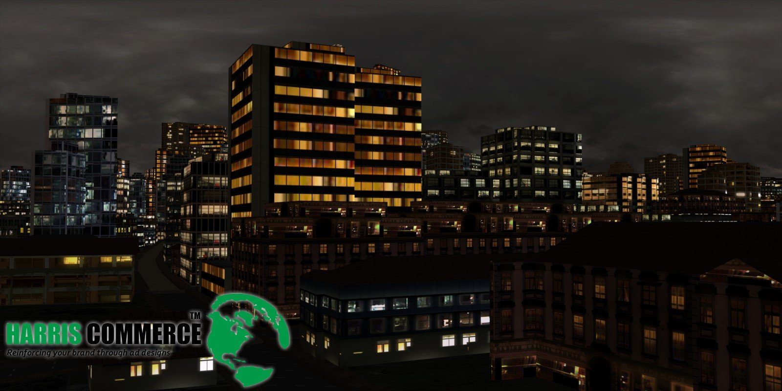 3D still animation - night buildings in the city