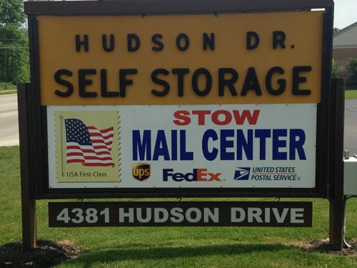 Hudson Drive Self Storage Center board in Stow, OH