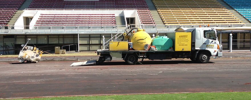 working at an outdoor track