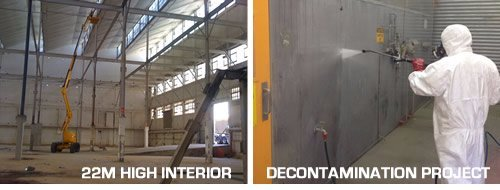 Industrial pressure cleaning at heights. Industrial decontamination clean-up. Unique industrial expertise.
