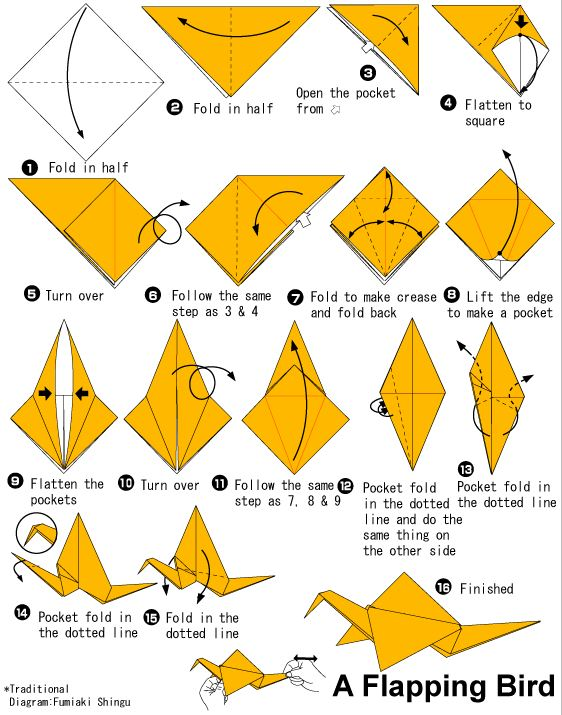 How to make an Origami Flapping Bird Video - YouTube | 715x562