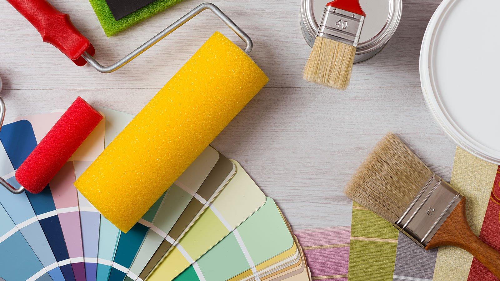 cartella colori, pennello e rullo