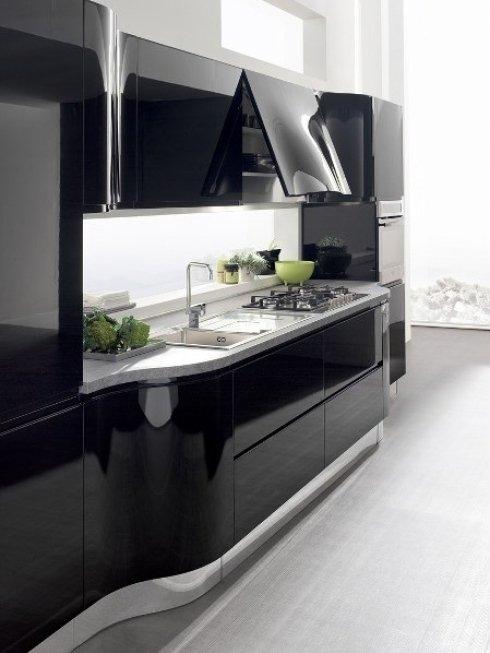 cucina moderna laccata nero