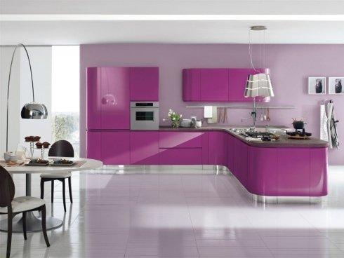 cucina moderna laccata fuxia