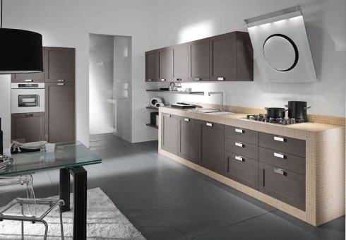 cucina moderna legno e muratura