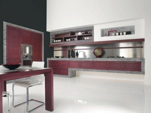 cucina moderna in legno colorato