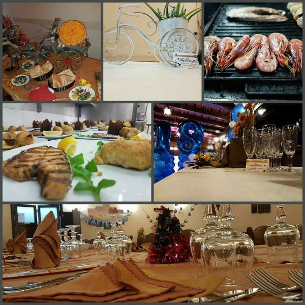 delle immagini di piatti a base di pesce e un tavolo apparecchiato