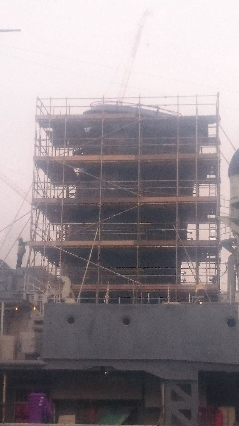 ship with scaffolding