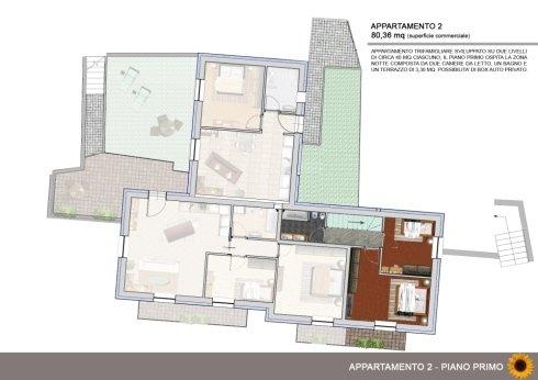 Appartamento trifamigliare su due livelli con giardino e possibilità box privato