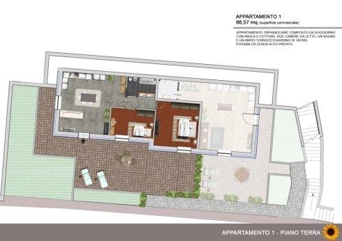 Appartamento trifamigliare di 66mq con giardino e box