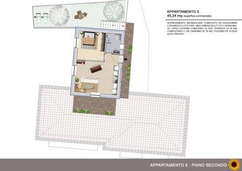 Appartamento bifamigliare con due terrazzi e giardino