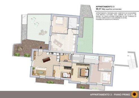 Appartamento trifamigliare con due terrazzi