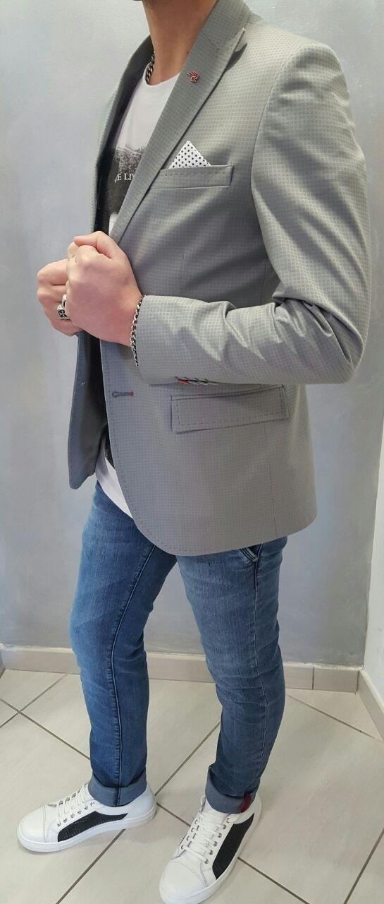 Giacca slim in cotone stampato