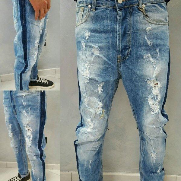 jeans semi turco con bande laterali
