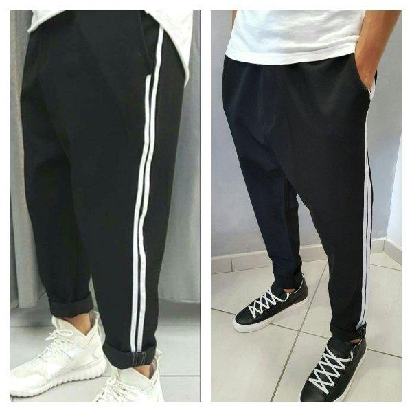 Pantaloni cavallo basso con molla e zip alla caviglia