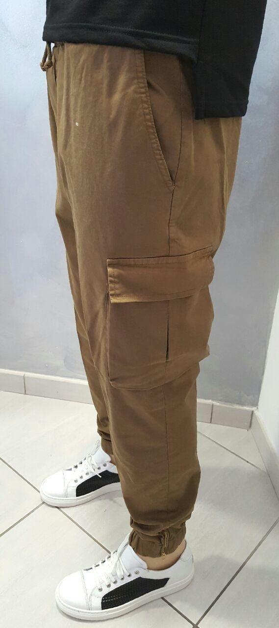 Pantalone Cargo semiturco con elastico in vita e zip alla caviglia