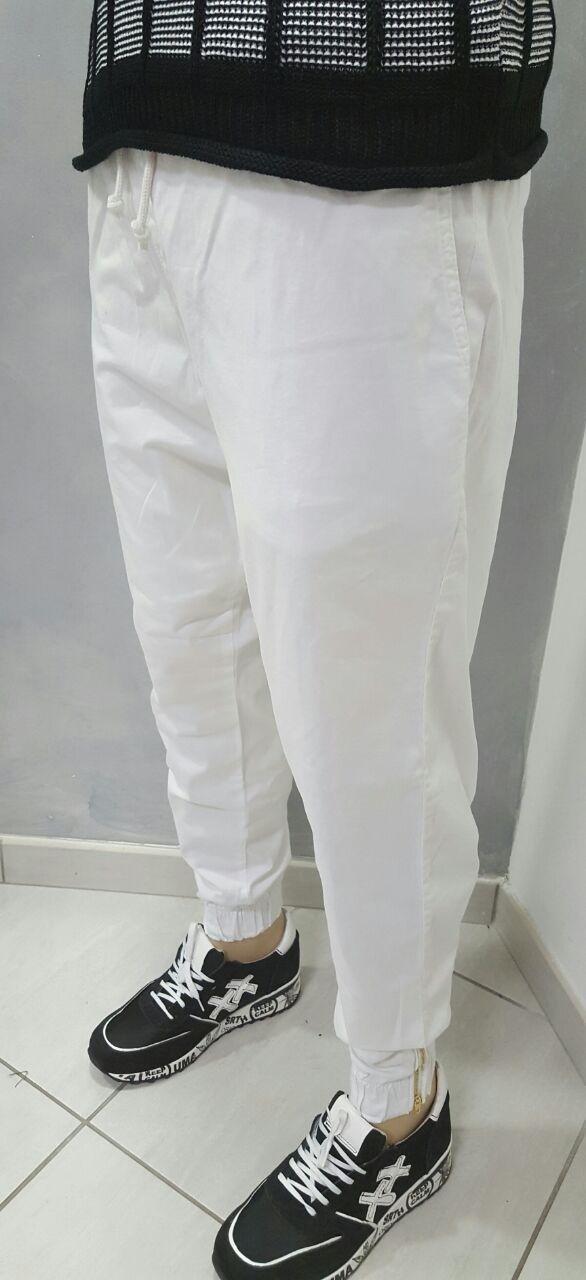 Pantalone in cotone semiturco con molla e zip alla caviglia