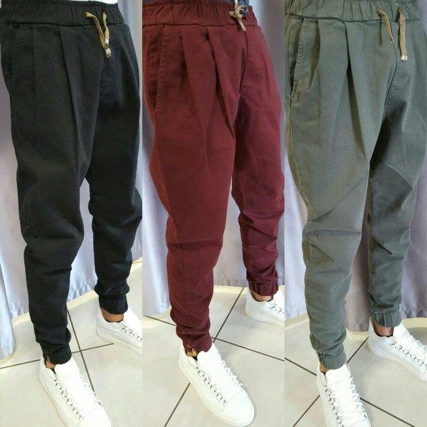 Pantalone in cotone cavallo basso con molla e zip alla caviglia
