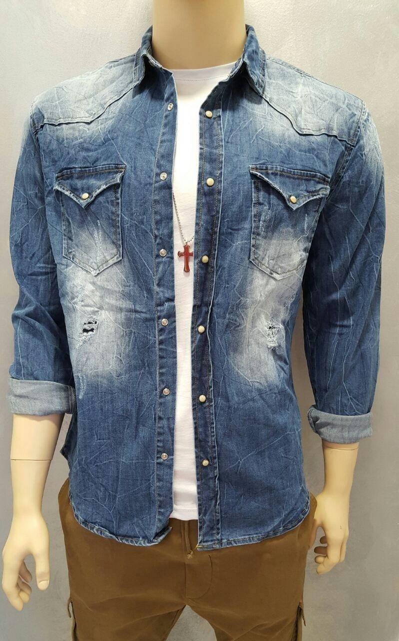 Camicia in jeans elasticizzato