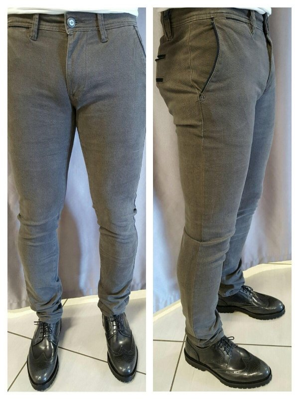 Pantaloni slim elastic micro fantasia articolo Fango
