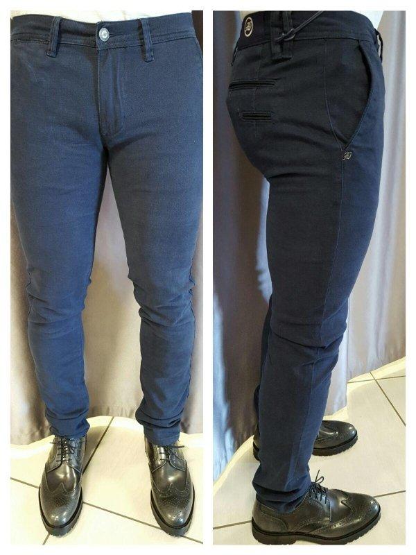 Pantaloni slim elastic micro fantasia articolo Blu'