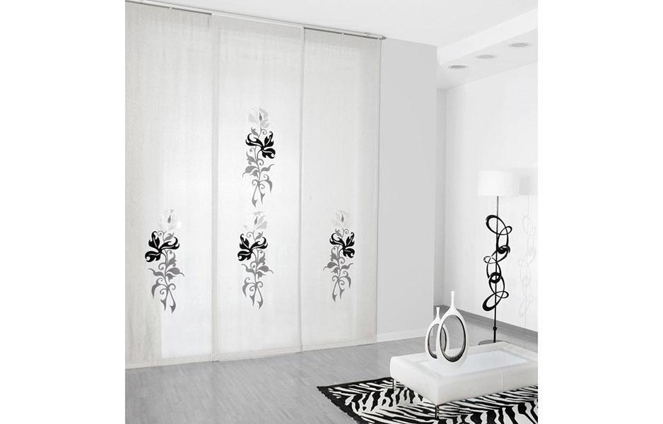 tenda bianca decorazioni nere