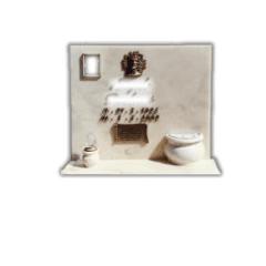 Lapide in marmo con lettere ed immagine sacra in bronzo