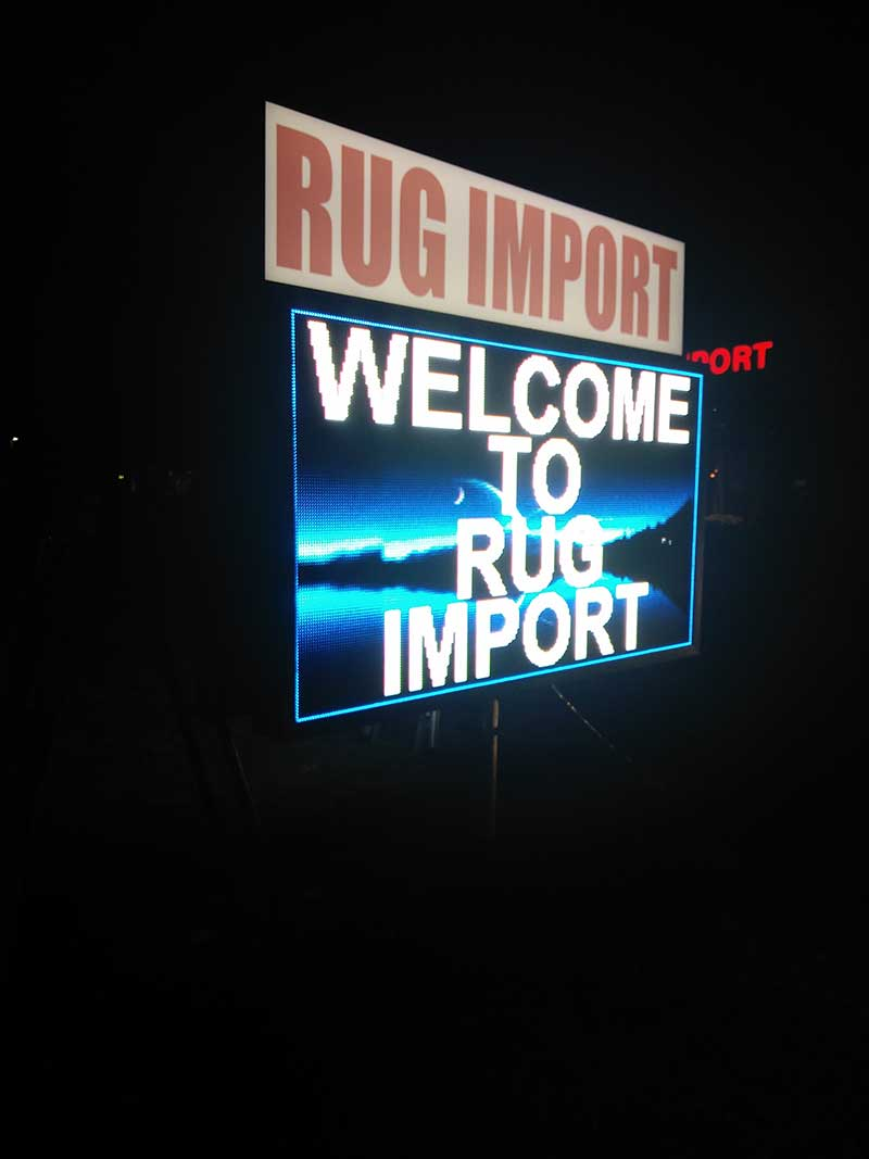Rug Import commercial sign
