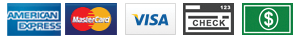 Payment icons - Amex, MasterCard, Visa, check and cash
