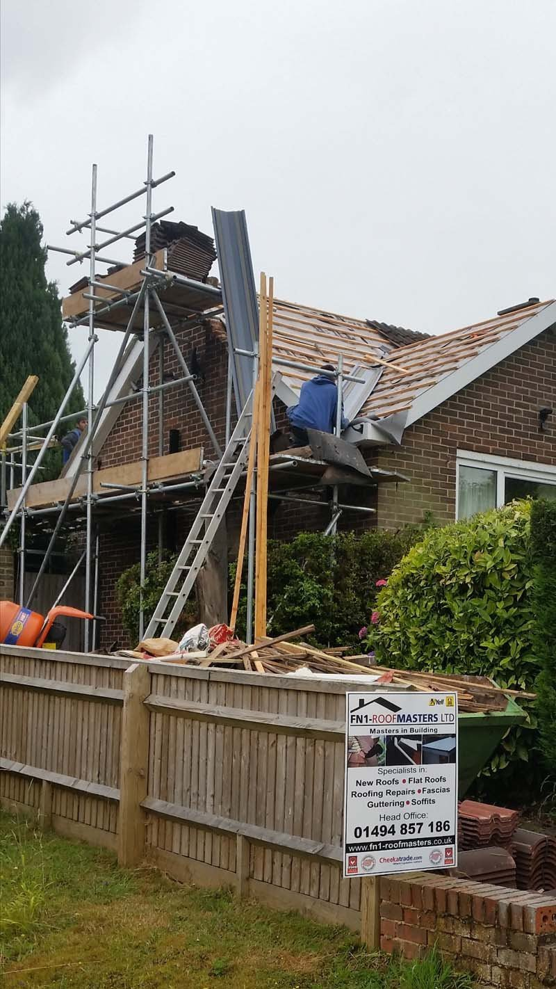 A roofing project underway