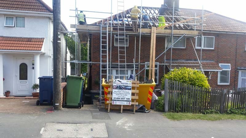 A new roof being completed
