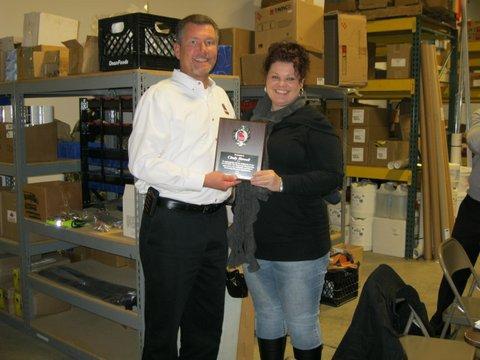 GAFSED President Daniel Laughlin presents service award to Cyndy Howell