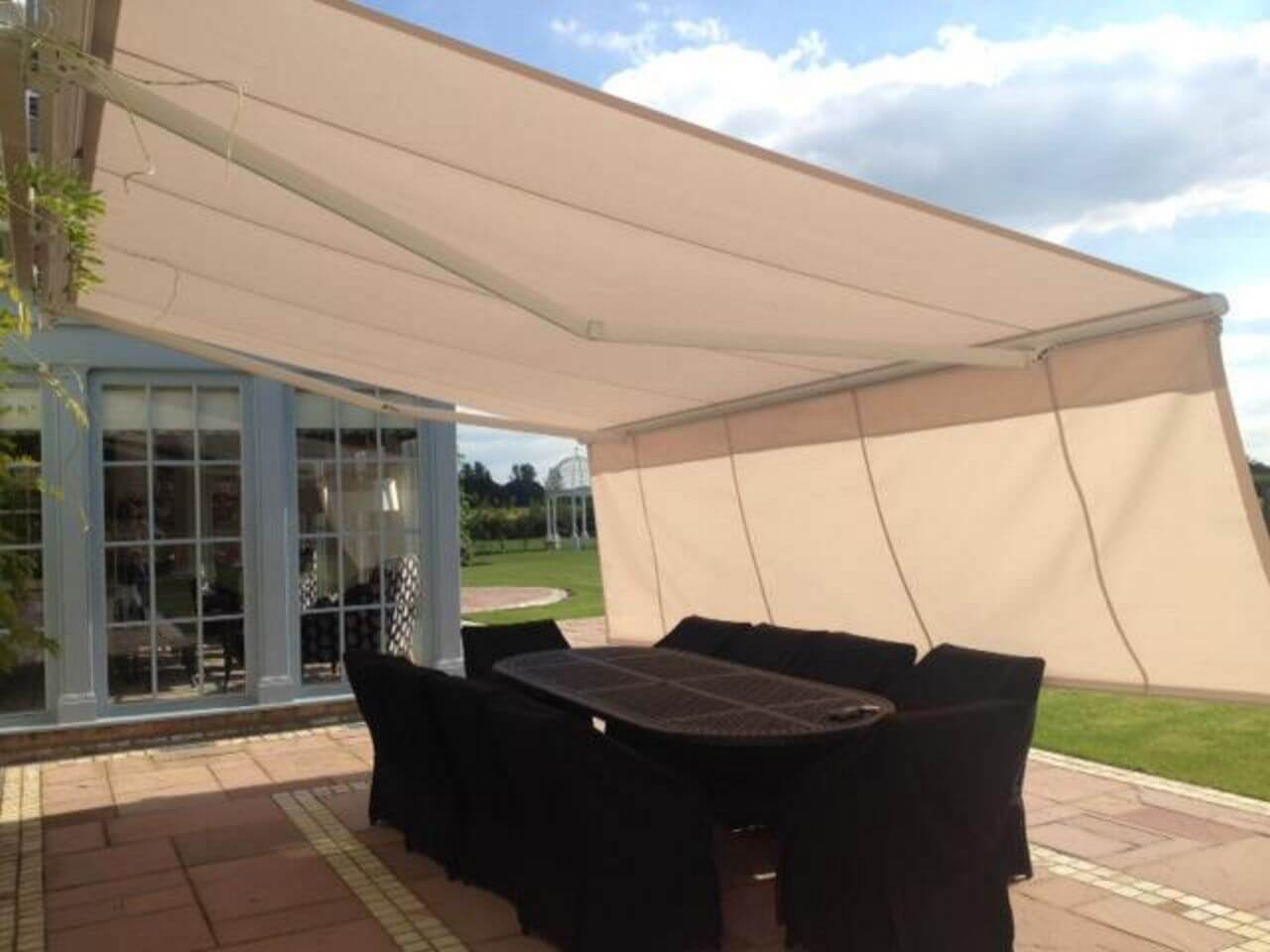 Harol patio awning with drop down valance