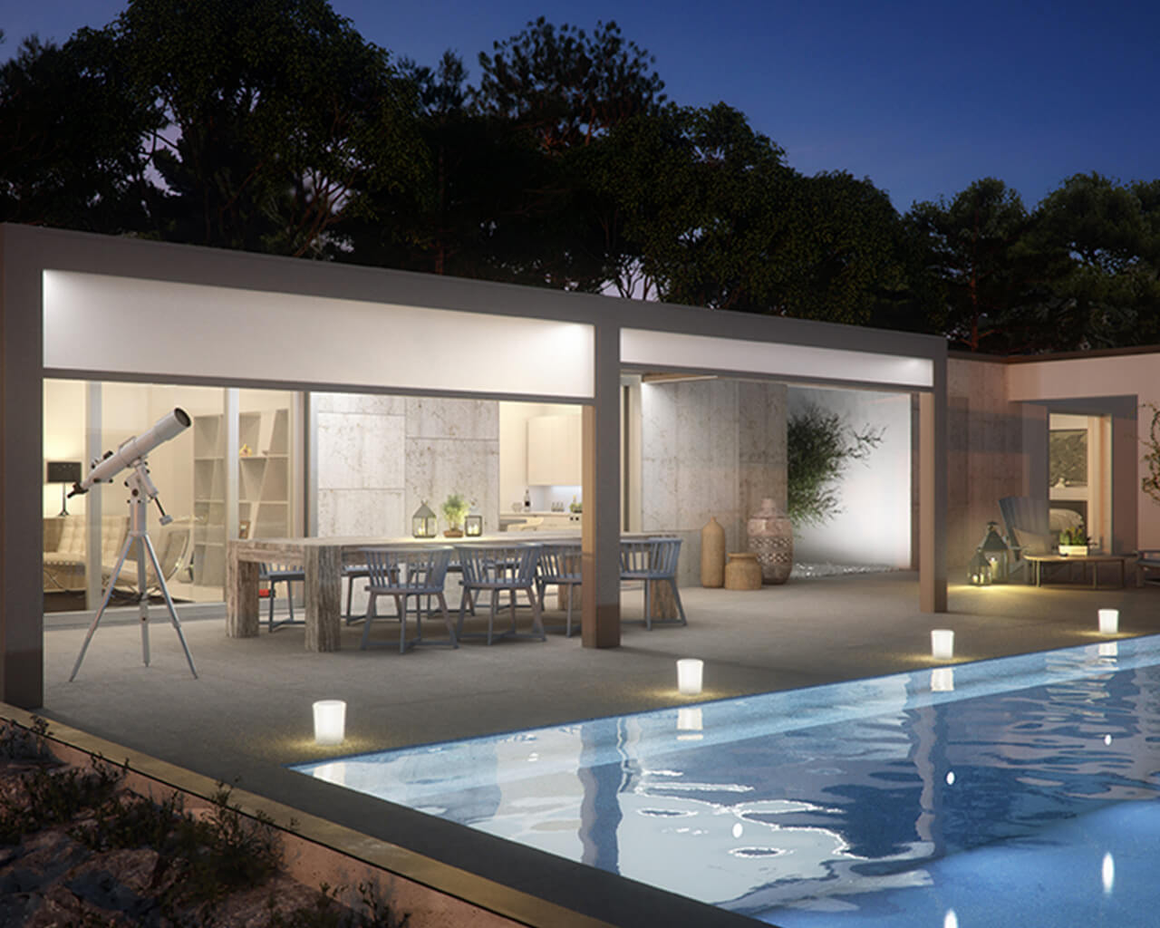 Garden room near a pool, during night time - Opera system