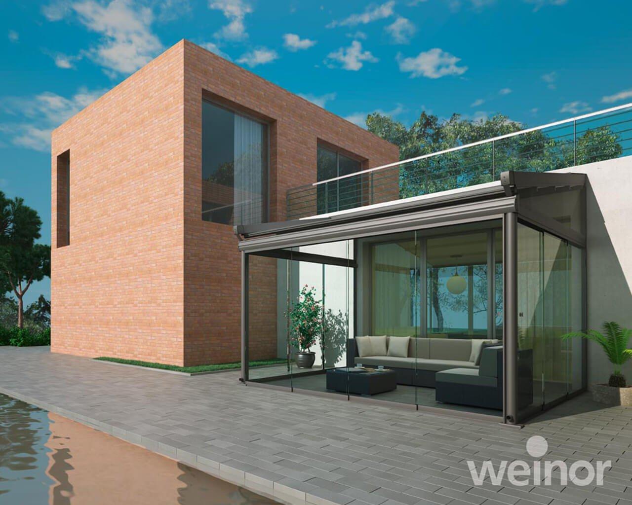 Glass room on a modern house