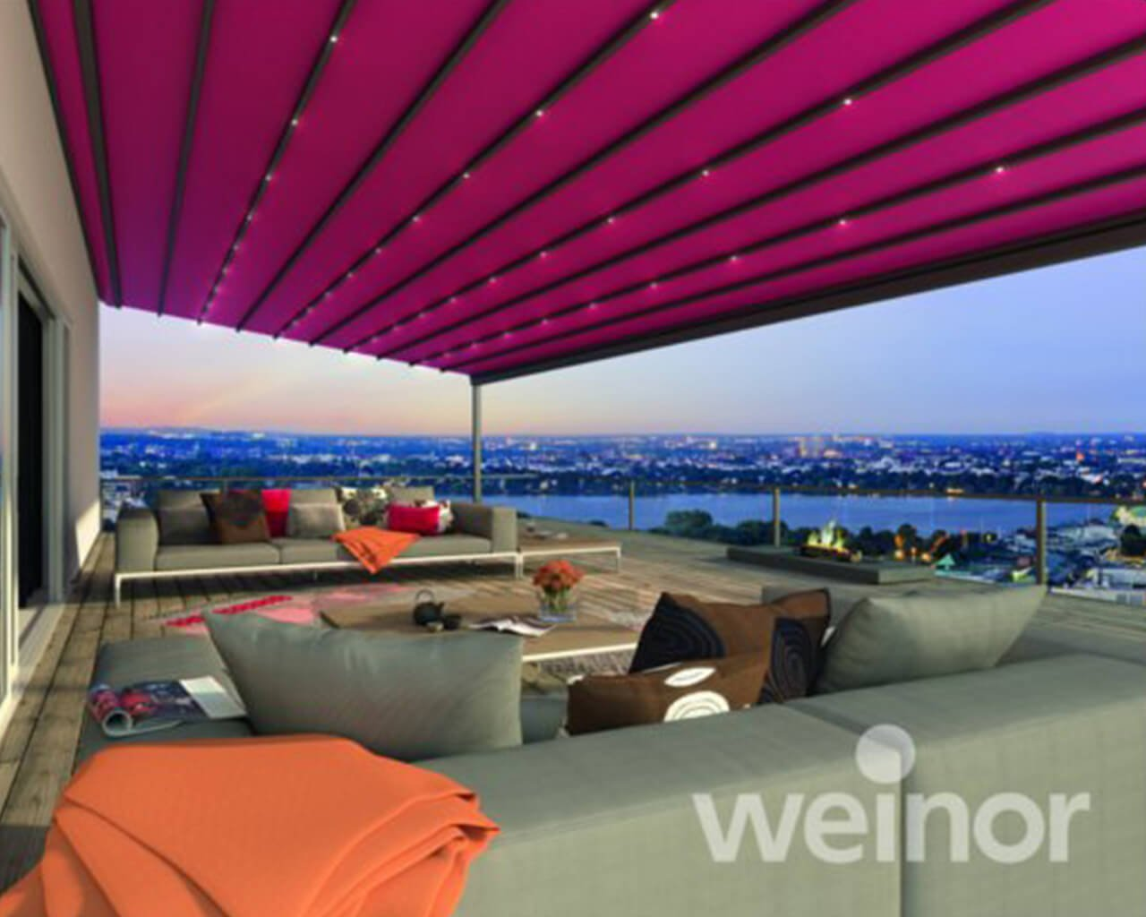 Pergotex retractable roof system during night time