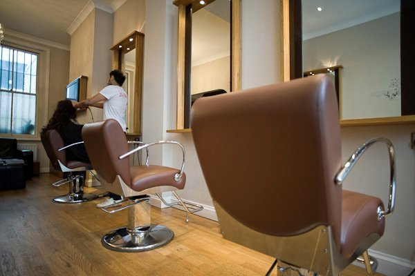 salon with client, mirror and chair