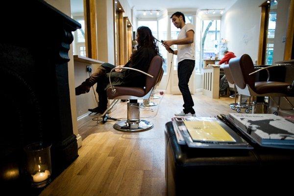 cutting a client's hair