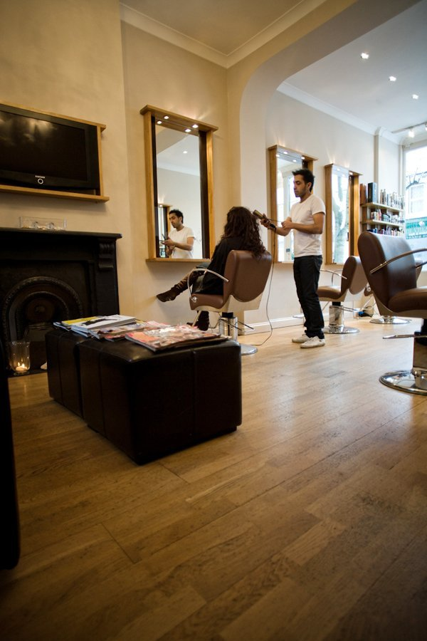 our wooden floored salon