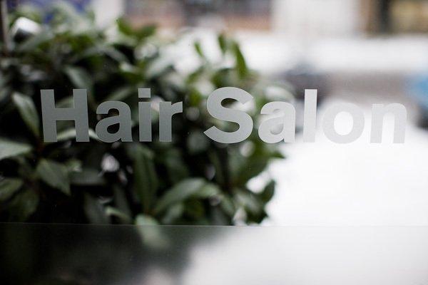 hair salon window lettering