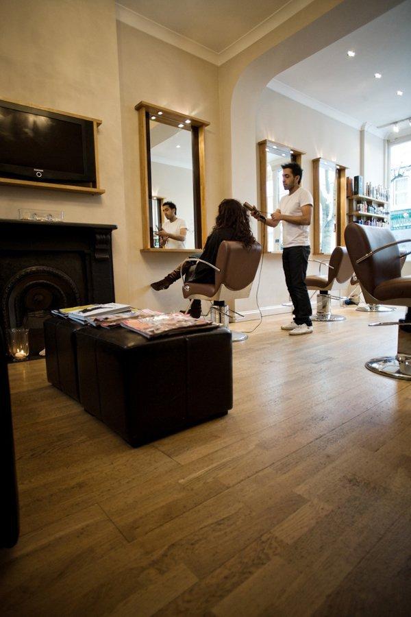 salon interior with wood floor