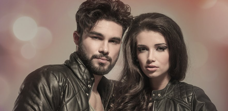 male and female models in leather biker style jackets