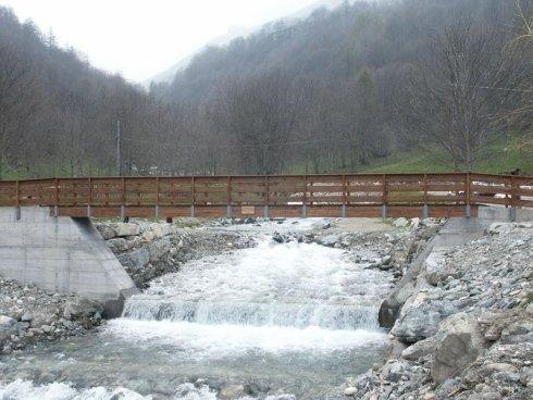 Ponte Crissolo, strutture ponte, staccionata ponte