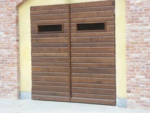 Portone a doghe in legno, portone garage, portone box