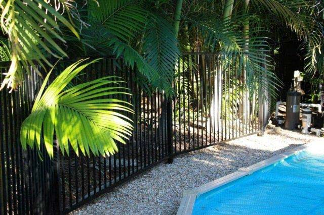black steel fence around pool
