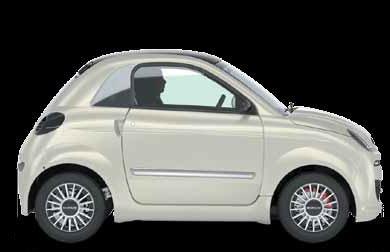 una minicar di color bianco vista lateralmente