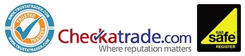Checkatrade logo and Gas Safe logo