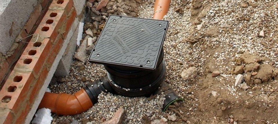 A drainage system outside a house
