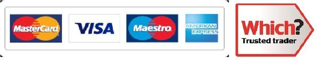 Debit and credit card logos, and Which Trusted Trader logo